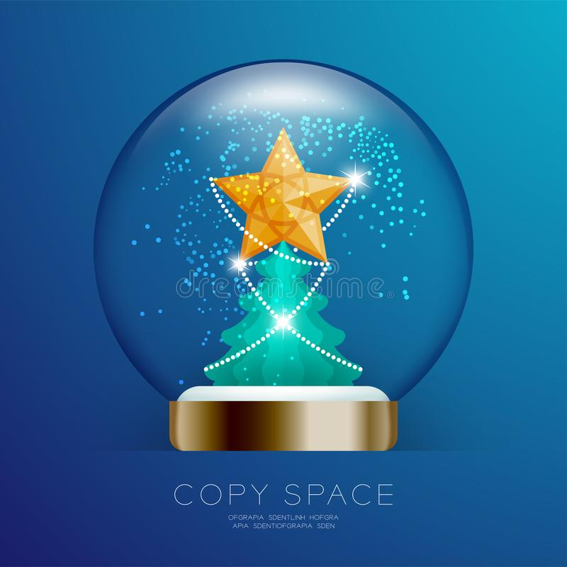 Souvenir kastar snöboll exponeringsglas blänker insidan har den guld- stjärnan med modellen och den fastställda illustrationen fö stock illustrationer