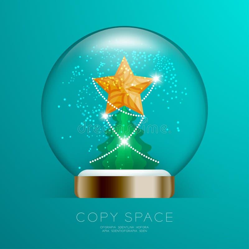 Souvenir kastar snöboll exponeringsglas blänker insidan har den guld- stjärnan med modellen och den fastställda illustrationen fö royaltyfri illustrationer