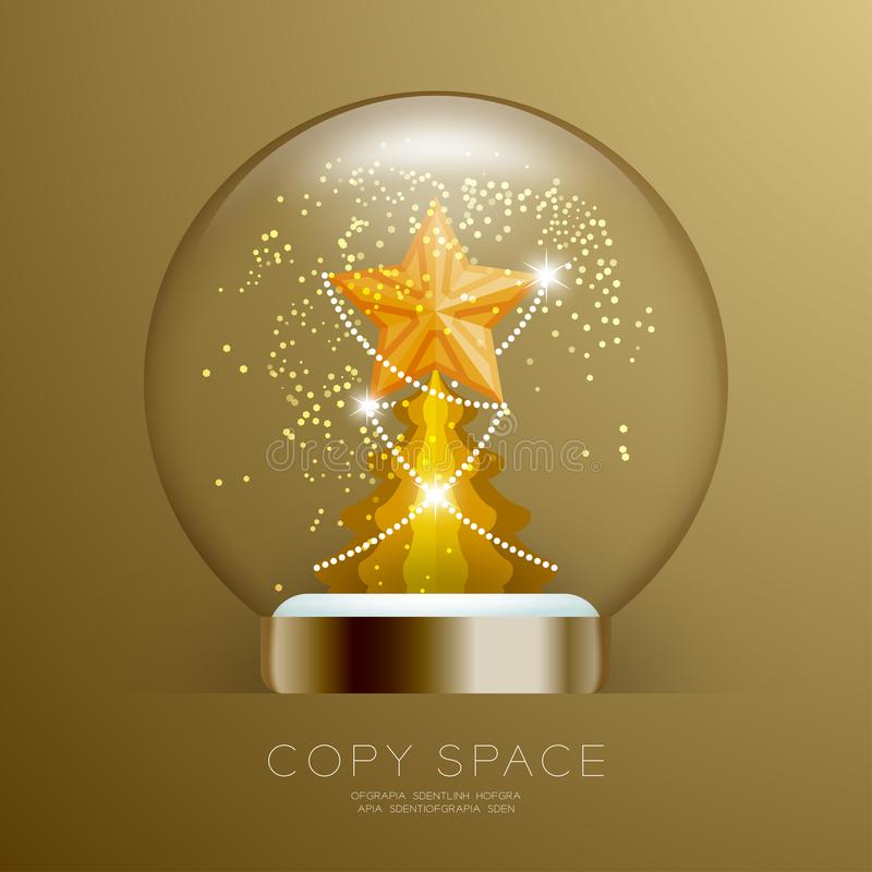 Souvenir kastar snöboll exponeringsglas blänker insidan har den guld- stjärnan med modellen och den fastställda illustrationen fö vektor illustrationer