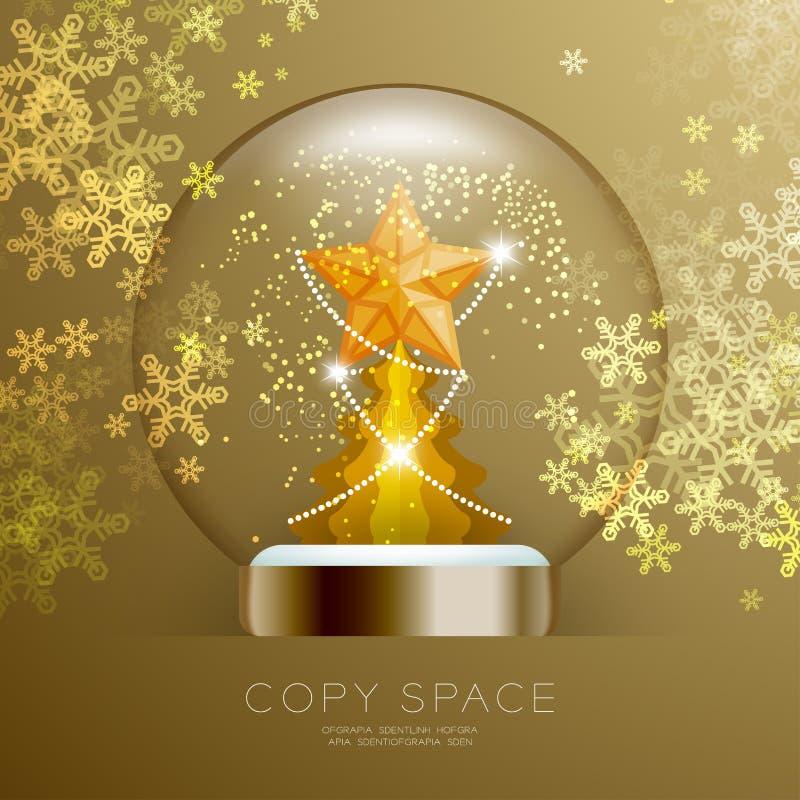 Souvenir kastar snöboll exponeringsglas blänker insidan har den guld- stjärnan med modellen och julgranen med illustratio för upp stock illustrationer