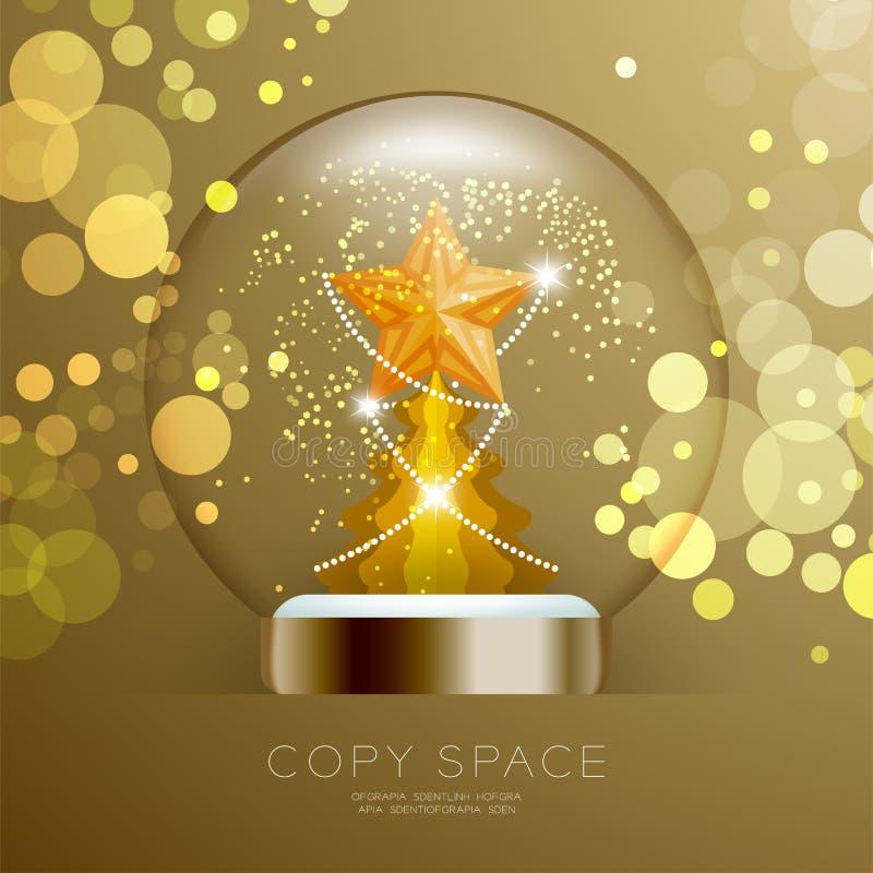 Souvenir kastar snöboll exponeringsglas blänker insidan har den guld- stjärnan med modellen och julgranen med illustrationen för  vektor illustrationer