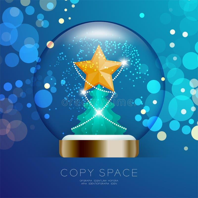 Souvenir kastar snöboll exponeringsglas blänker insidan har den guld- stjärnan med passande royaltyfri illustrationer