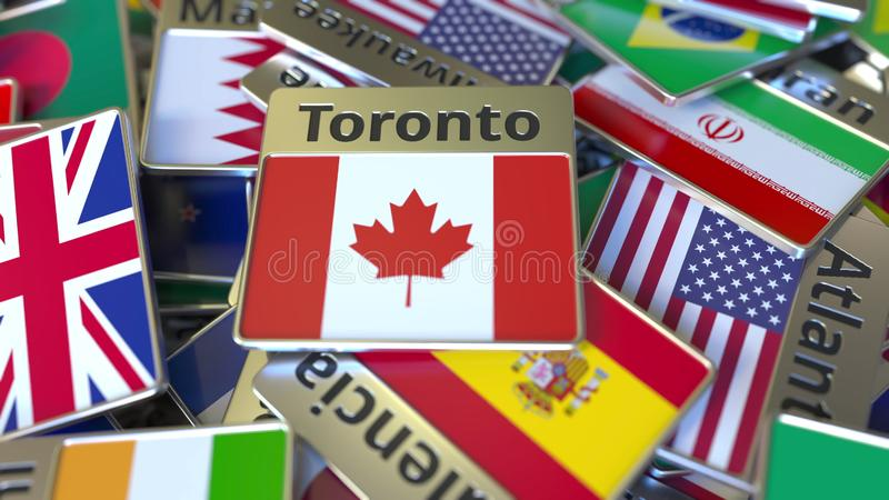 Souvenir magnet or badge with Toronto text and national flag among different ones. Traveling to Canada conceptual 3D. Souvenir magnet or badge with name of the stock illustration