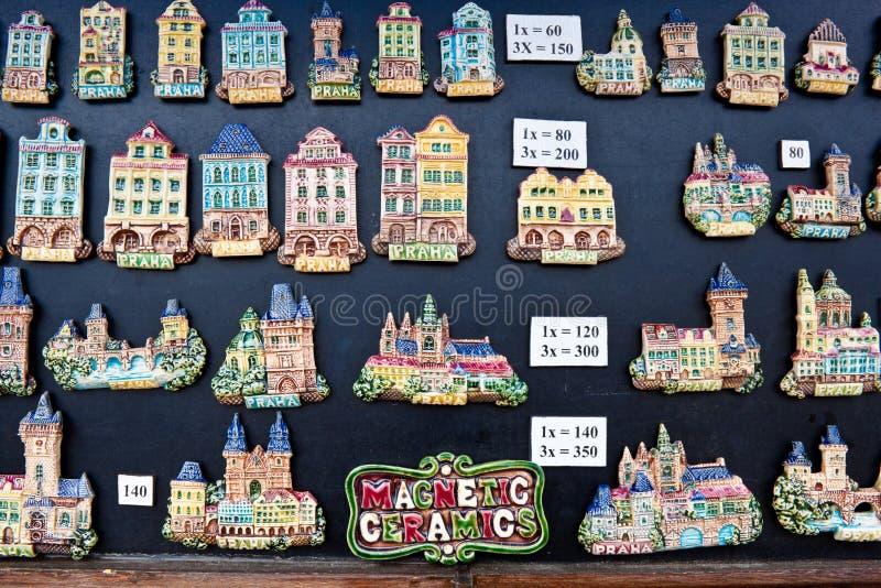 Souvenir magnets in Prague. Prague, Czech Republic - June 29, 2013: Souvenir ceramic magnets for sale on Charles Bridge royalty free stock image