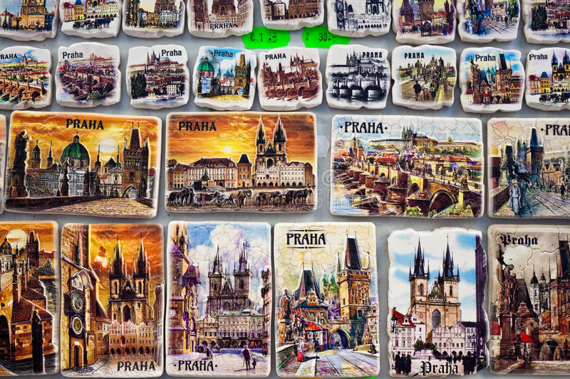 Souvenir magnets for sale in Prague, Czech Republic. Prague, Czech republic - February 22, 2016: Souvenir magnets with pictures of Prague sights and landmarks stock photography