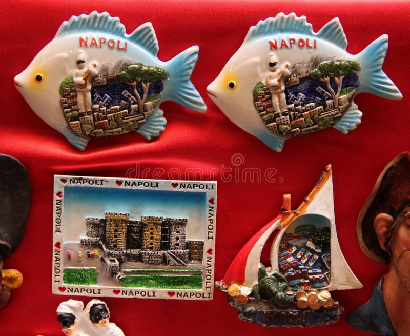 Souvenir Magnets. For sale at a store in the centro historico in Naples, Greece stock photography