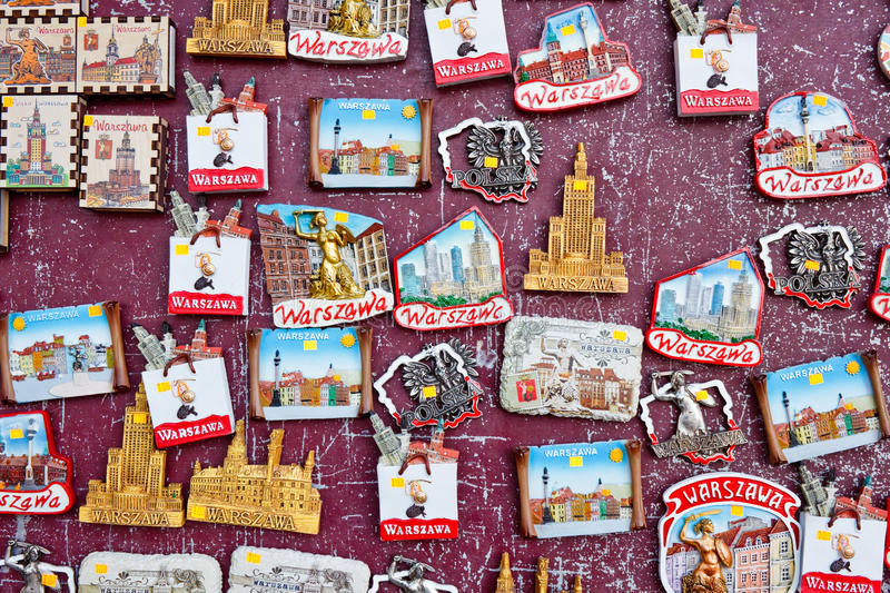 Souvenir magnets with sights of Warsaw, Poland. Warsaw, Poland - October 9, 2015: Souvenir magnets depicting significant places and symbols of Warsaw for sale on royalty free stock image