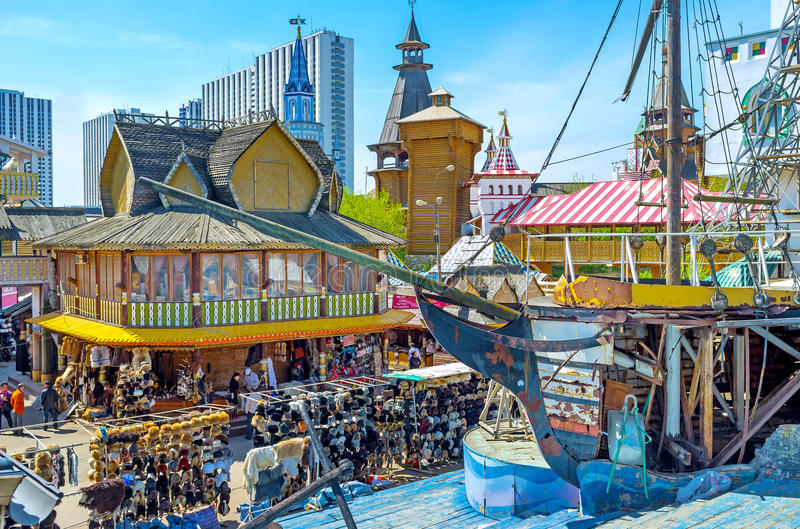 The souvenir market in Moscow royalty free stock photo
