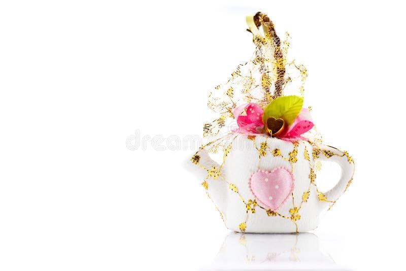 Souvenir. Mini kettle souvenir for wedding or valentine day stock image