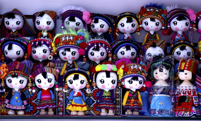 Souvenir miniature dolls from Yunnan stock photos