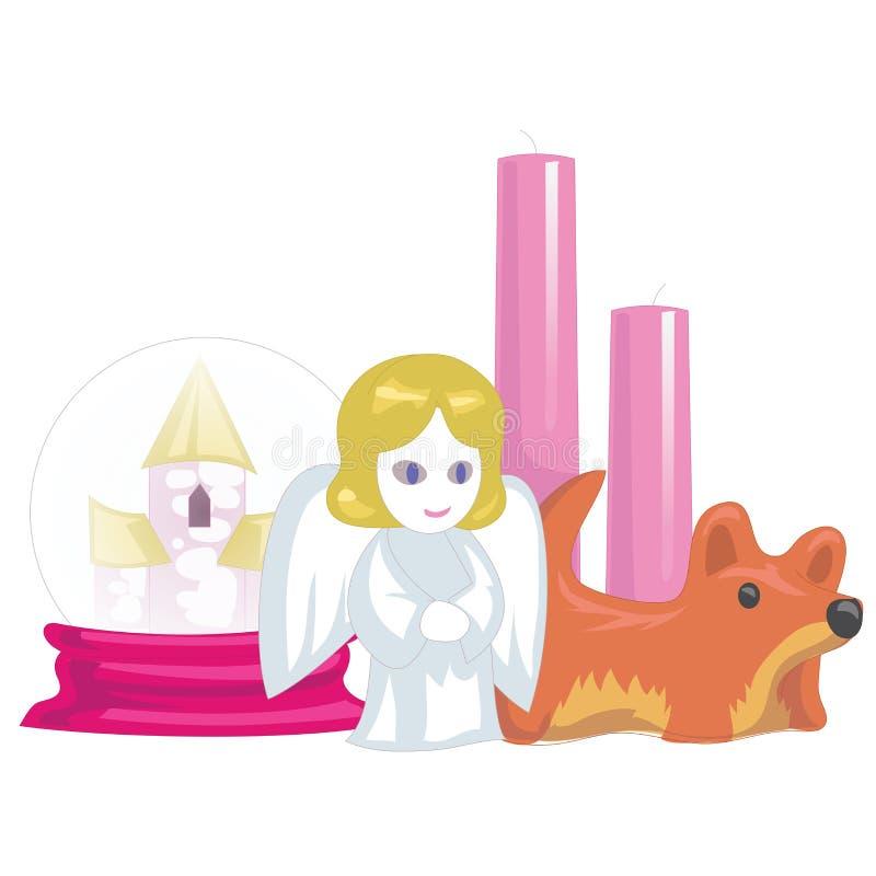 Souvenir och den hem- tillbehören, stearinljuset och rosa färger boxas stock illustrationer