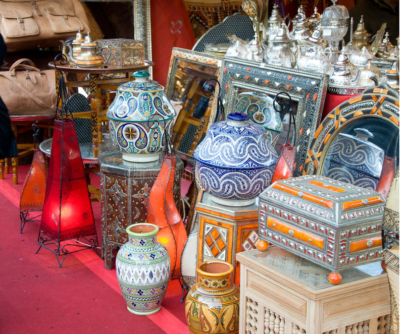 Souvenir shop. With oriental things stock photos