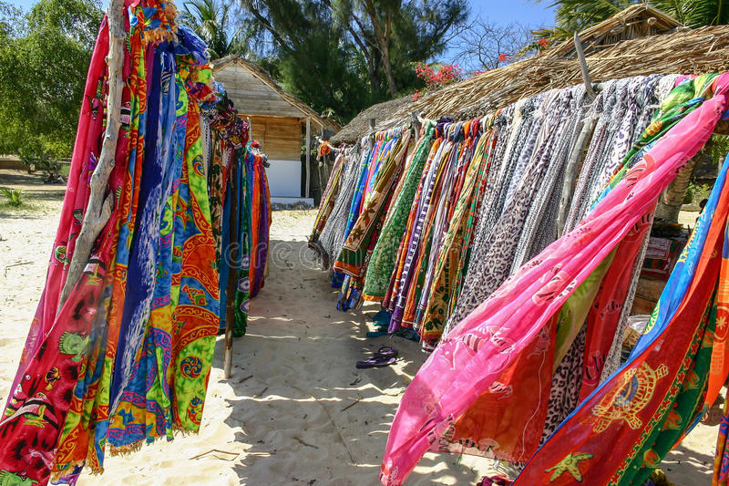 Souvenir shop. On the beach of Ifaty, southwestern Madagascar stock photo