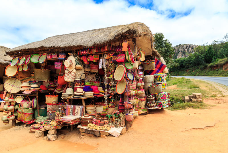 Souvenir shop along the road in Africa. Madagascar royalty free stock photography