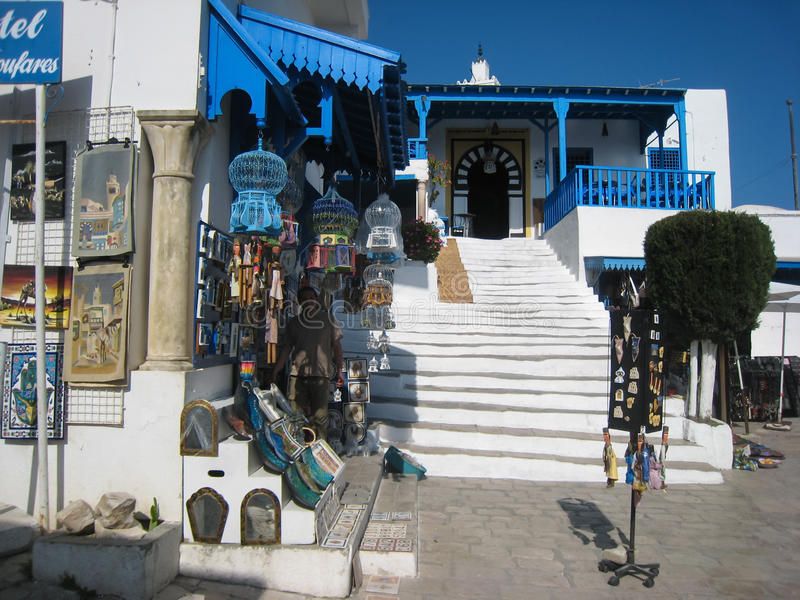 Souvenir shop and Cafe des Nattes. Sidi Bou Said. Tunisia stock image
