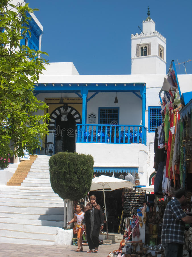 Souvenir shop and Cafe des Nattes. Sidi Bou Said. Tunisia stock photos
