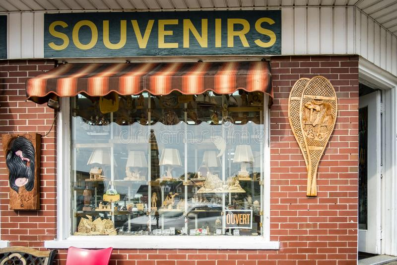 Souvenir shop. Called Le coin du souvenir in Saint Jean Port Joli, Quebec, Canada. Saint-Jean-Port-Joli is a municipality of Quebec located in the MRC of L` stock image