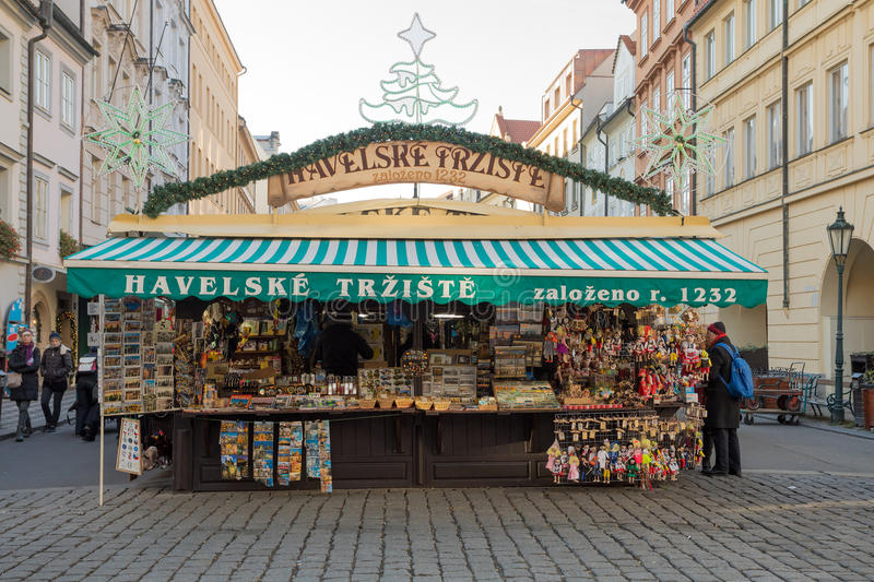 Souvenir shop at famous Havels Market in first week of Advent in Christmas. PRAGUE - December 3: Souvenir shop at famous Havels Market in first week of Advent in stock photography