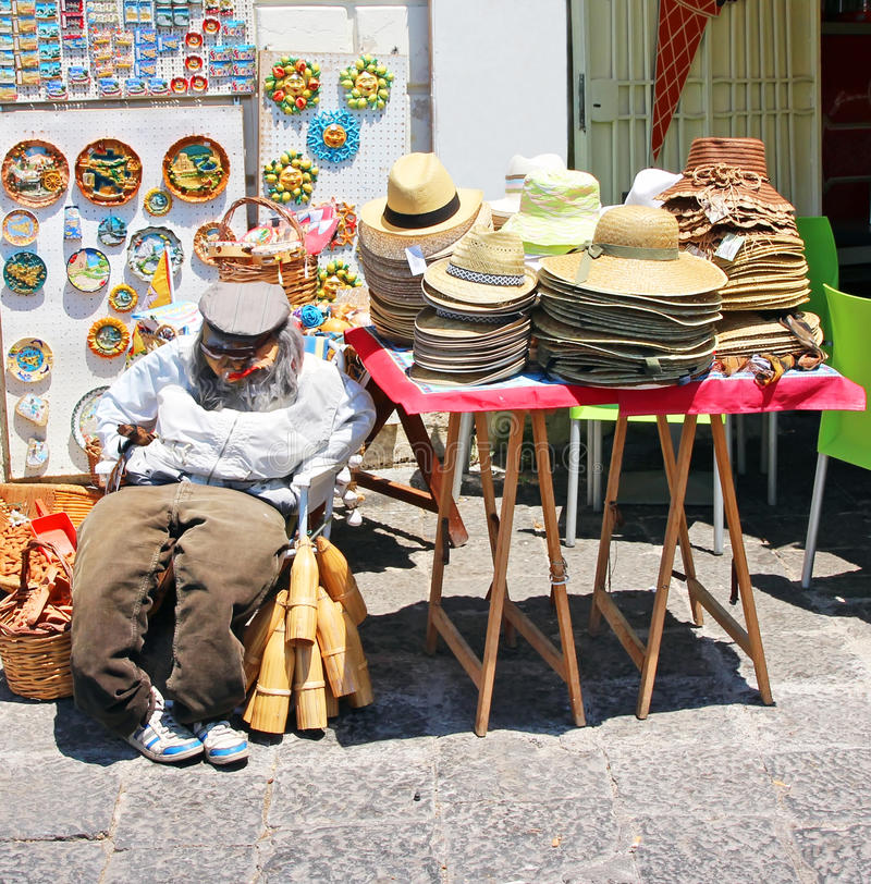 Souvenir Shop. With Hats, knickknack and a stuffed man sitting. Sicily Italy stock image