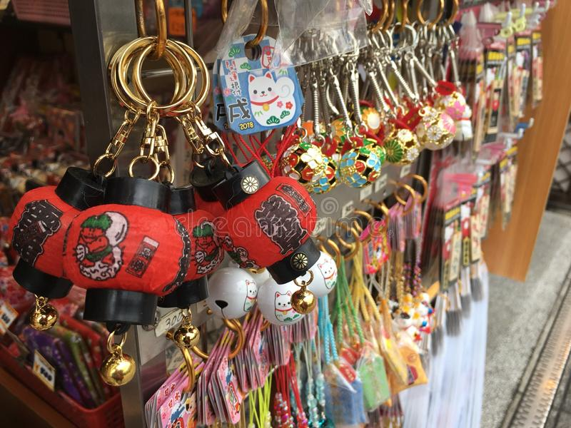Souvenir shop in Japan,Sensoji Temple. Tokyo. key chain and etc. Cute Souvenir royalty free stock photos