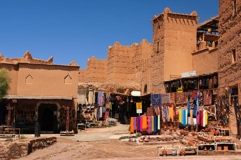 Souvenir shop at Kasbah Taourirt . Ouarzazate. Morocco. Medieval buildings in Taourirt kasbah.Ouarzazate. Morocco royalty free stock photo