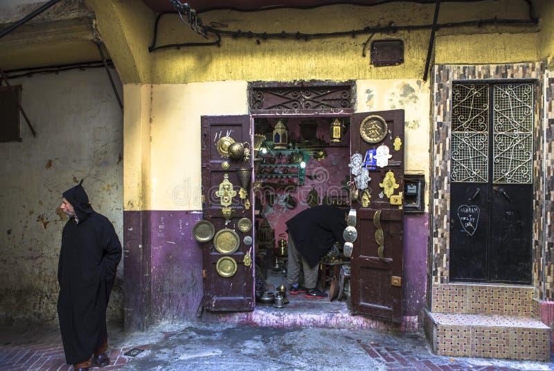 Souvenir shop of Medina in Tangier, Morocco stock photos