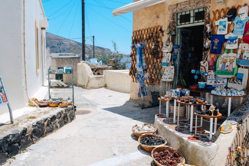 Souvenir shop at Pyrgos in Santorini island, Greece. Santorini island, Greece - July 21, 2013 : Souvenir shop at Pyrgos town royalty free stock photo