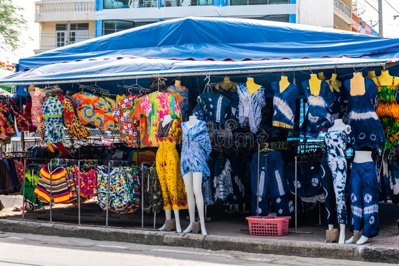 Souvenir shop swimwear market, a tourist attractions nearby beach royalty free stock photography
