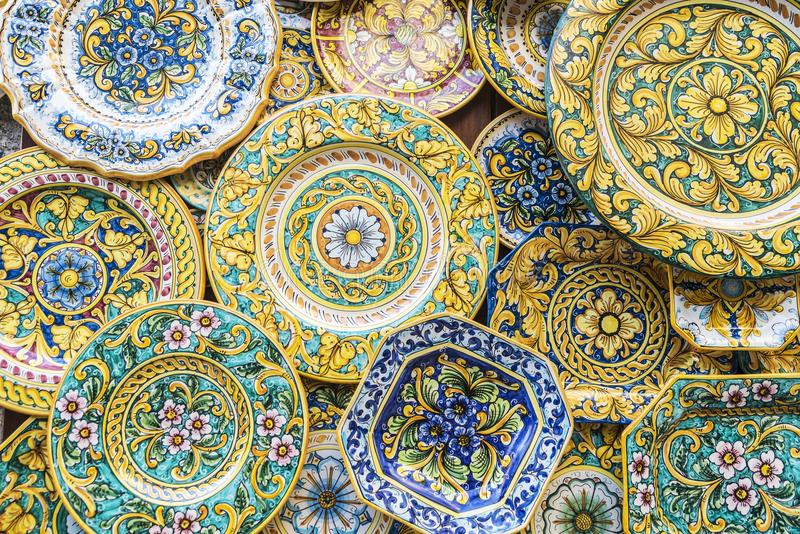 Souvenir shop with typical ceramic products in Erice, Sicily, It. Souvenir shop with typical ceramic products of Sicilian style in the old town of the historic royalty free stock photography