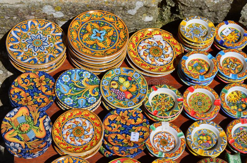Souvenir shop with typical ceramic products in Erice. Sicily stock image