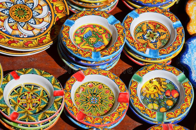 Souvenir shop with typical ceramic products in Erice. Sicily royalty free stock photo