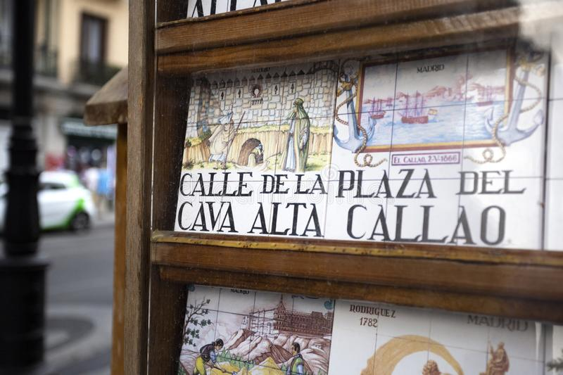 Souvenir showcase wit traditional tile street signs in Madrid, Spain sight of the city 2018-08-07. Souvenir showcase with old traditional tile street signs in royalty free stock photography