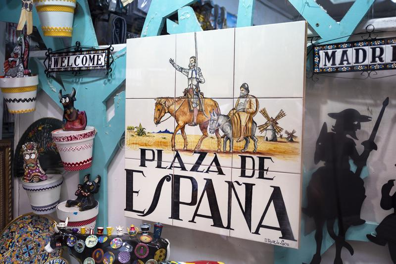 Souvenir showcase with old traditional tile street signs in Madrid, Spain sight o city 2018-08-07. Souvenir showcase with old traditional tile street signs in royalty free stock photos