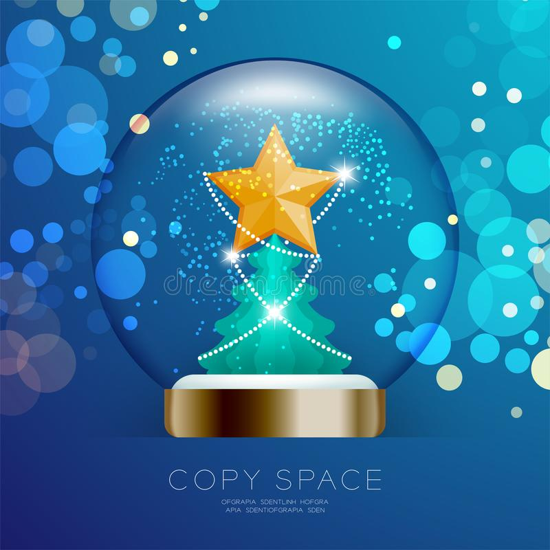 Souvenir Snowball Glass glitter inside have Golden Star with pat royalty free illustration