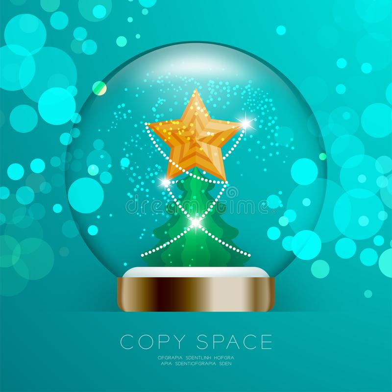 Souvenir Snowball Glass glitter inside have Golden Star with pattern and Christmas tree with bokeh light set illustration royalty free illustration