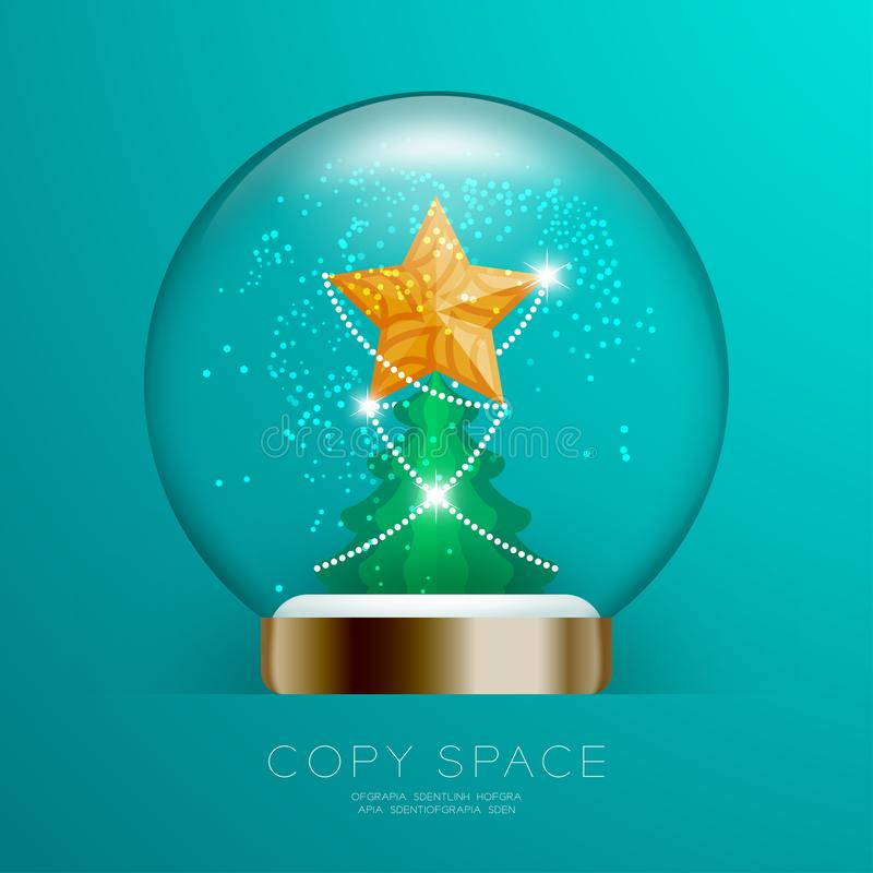 Souvenir Snowball Glass glitter inside have Golden Star with pattern and Christmas tree set illustration royalty free illustration