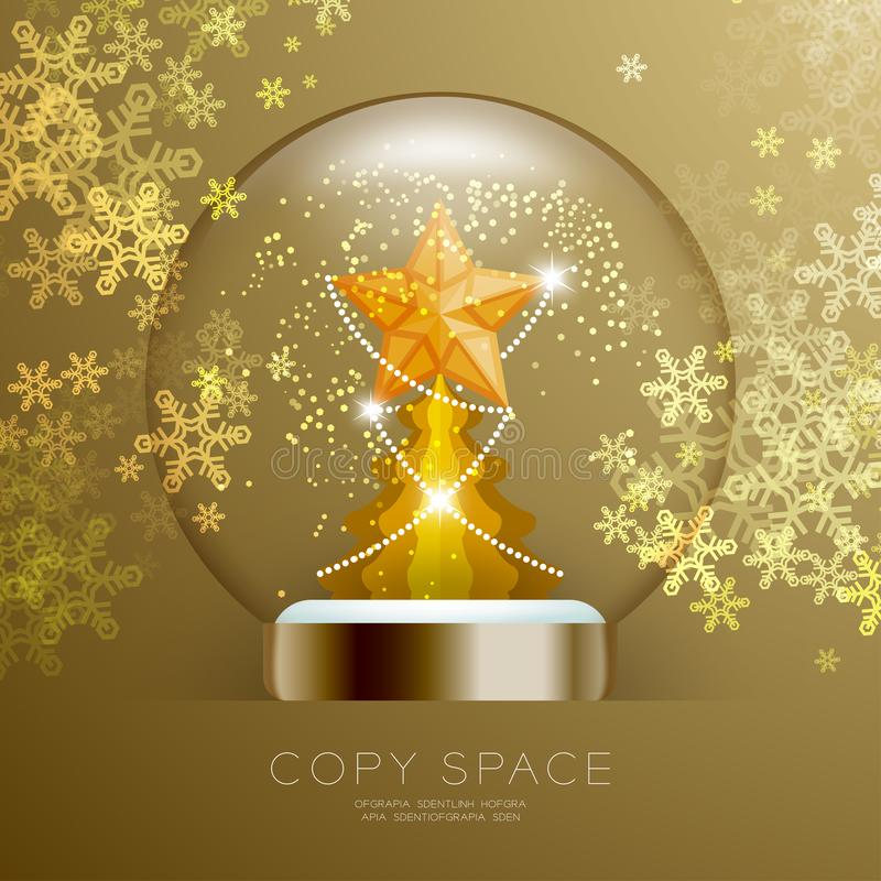 Souvenir Snowball Glass glitter inside have Golden Star with pattern and Christmas tree with snowflake bokeh light set illustratio stock illustration