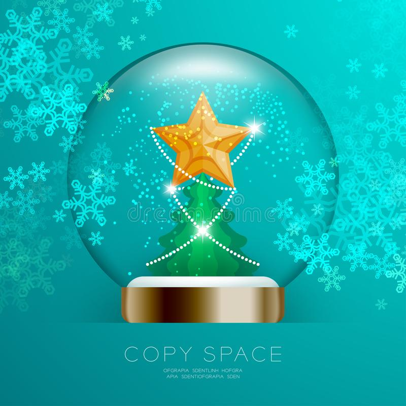 Souvenir Snowball Glass glitter inside have Golden Star with pattern and Christmas tree with snowflake bokeh light set illustratio vector illustration