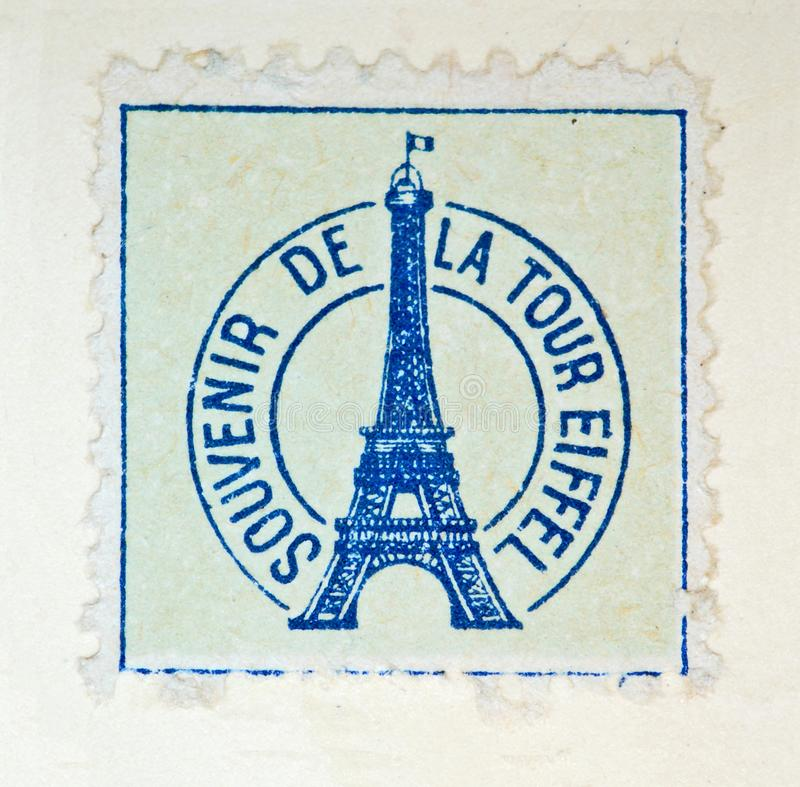 Souvenir stamp Eiffel Tower stock images