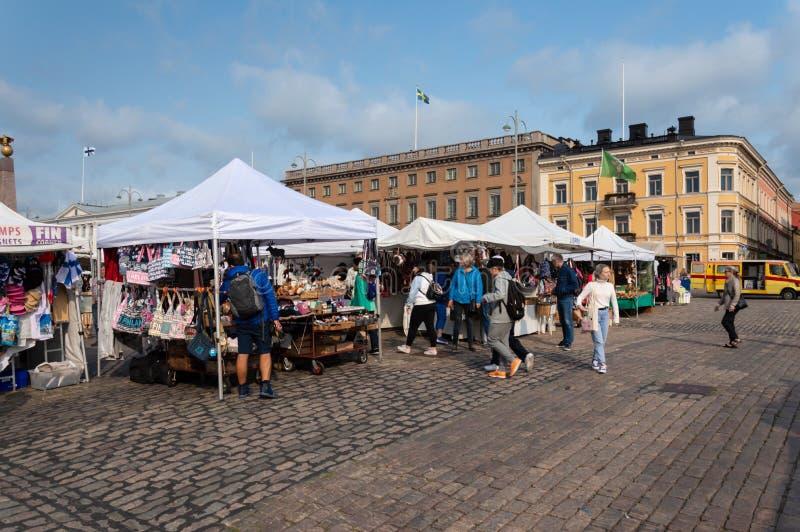 Souvenir stand at Kauppatori Market Square in Helsinki stock photo