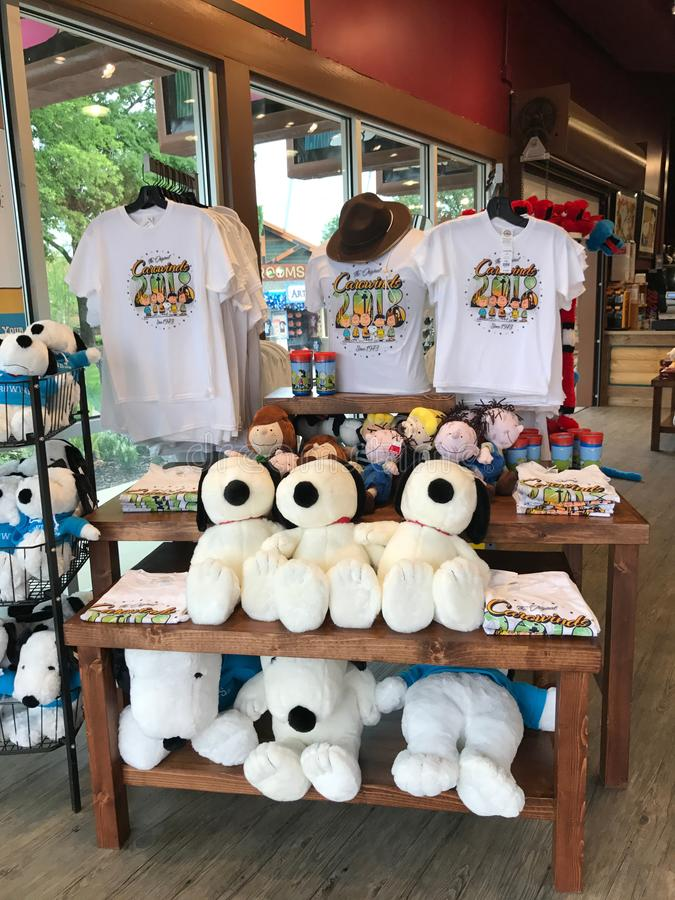 Souvenir Store in Camp Snoopy at Carowinds in Charlotte, North Carolina.  stock photo