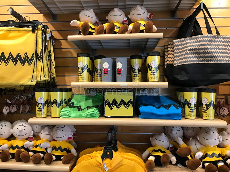 Souvenir Store in Camp Snoopy at Carowinds in Charlotte, North Carolina.  stock photos