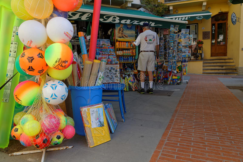 A souvenir store in Monterosso. MONTEROSSO, Italy, June 5, 2017 : A souvenir store in the northernmost village of the Cinque Terre National Park. Cinque Terre is stock photos
