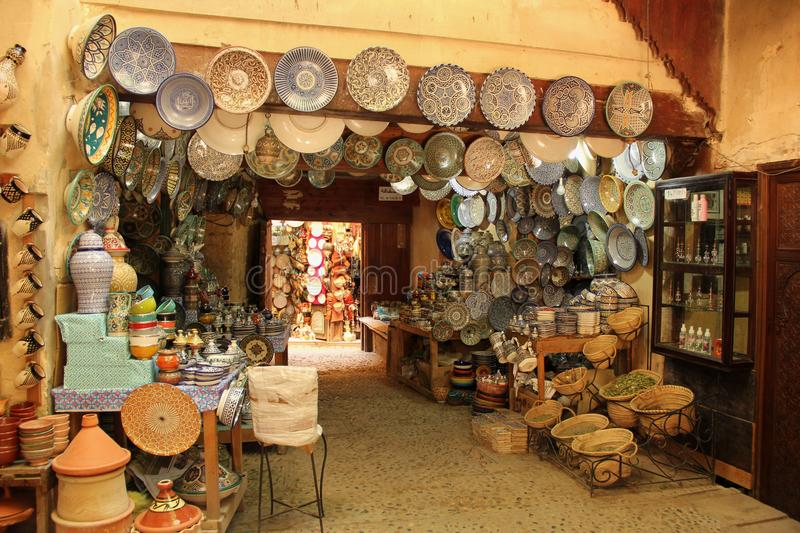 Souvenir Store. A Souvenir Store in the souk selling handmade pottery in Fez, Morocco royalty free stock photo