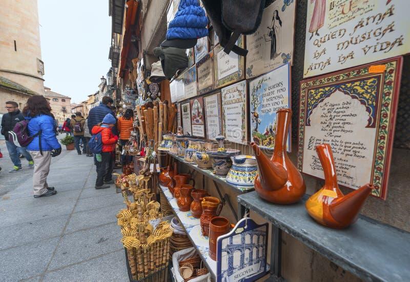 Souvenir store. Street souvenir store. Segovia, Spain royalty free stock photo