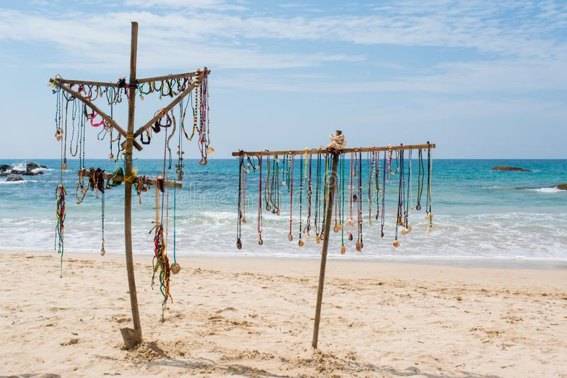 Souvenir store on the tropical beach. In Sri Lanka royalty free stock image