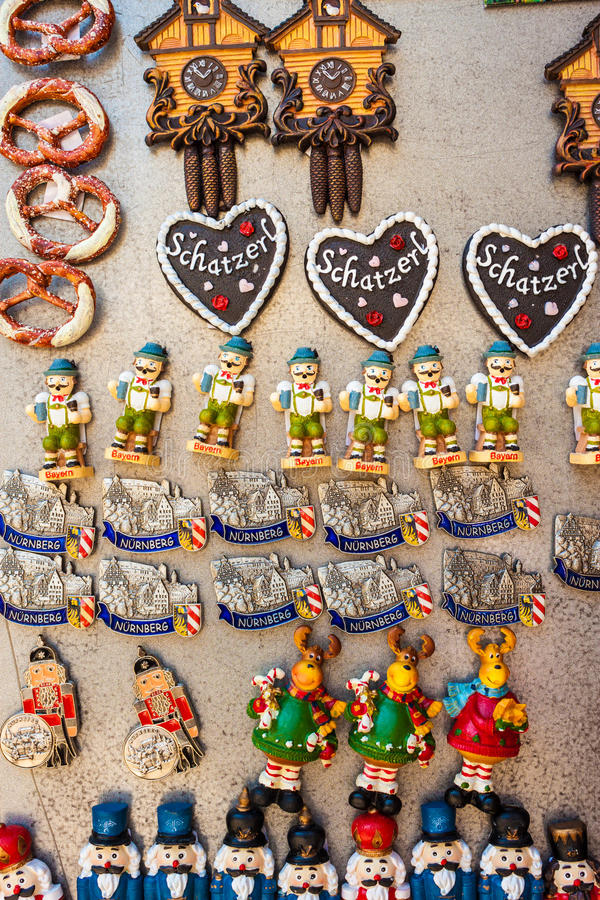 Souvenir touristic magnets for sale in Nuremberg, Germany. Nuremberg, Germany - August 27, 2016: Souvenir touristic magnets for sale on a stand of a souvenir royalty free stock photo