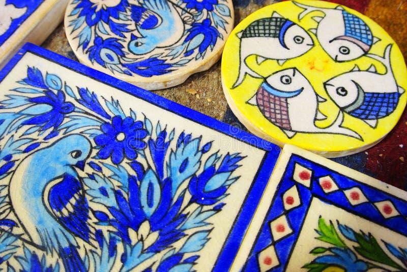 Souvenir, vakmanschap van de Iraanse potter Reza Ebadi, Natanz, Isfahan, IRAN stock afbeeldingen