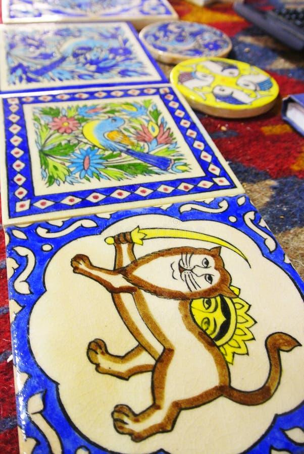 Souvenir, vakmanschap van de Iraanse potter Reza Ebadi, Natanz, Isfahan, IRAN royalty-vrije stock foto's