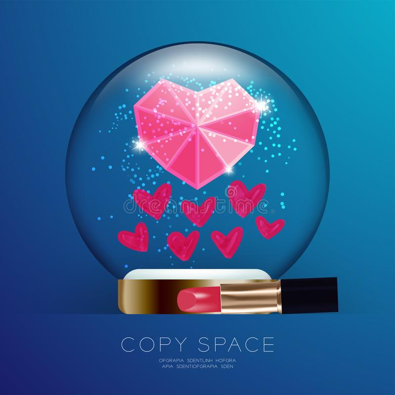 Souvenir Valentine Snowball Glass blänker med det rosa hjärtasymbolet, hjärtor som drar vid läppstift, och kyssar ställer in illu vektor illustrationer
